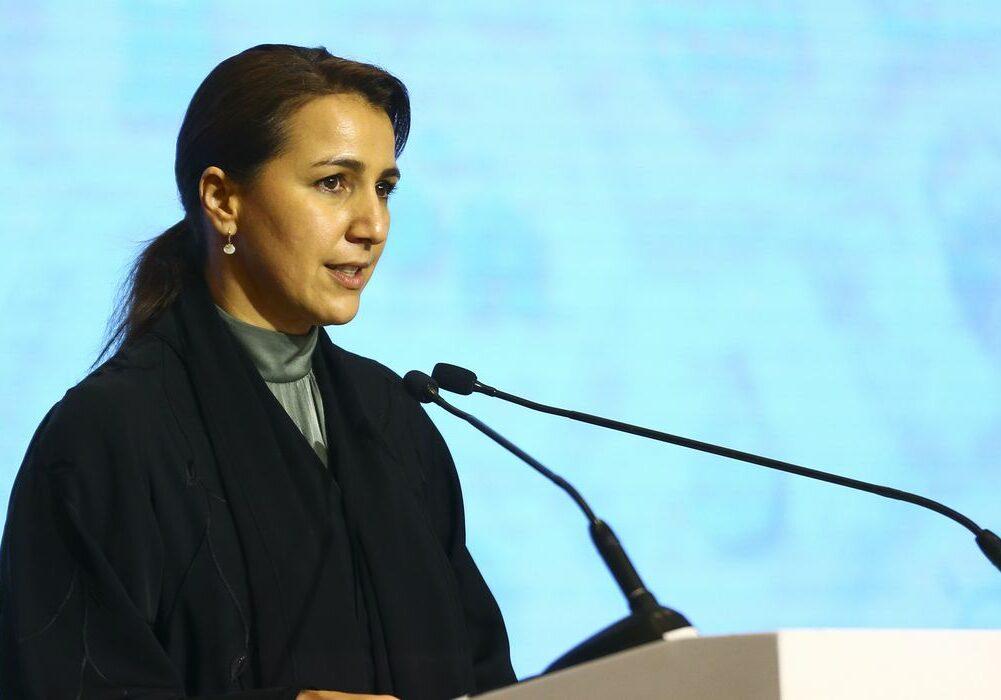 A ministra do Meio Ambiente e Mudanças Climáticas dos EAU, Mariam Bint Mohammed Al Mheiri, durante abertura do seminário empresarial Brasil-Emirados Árabes Unidos.